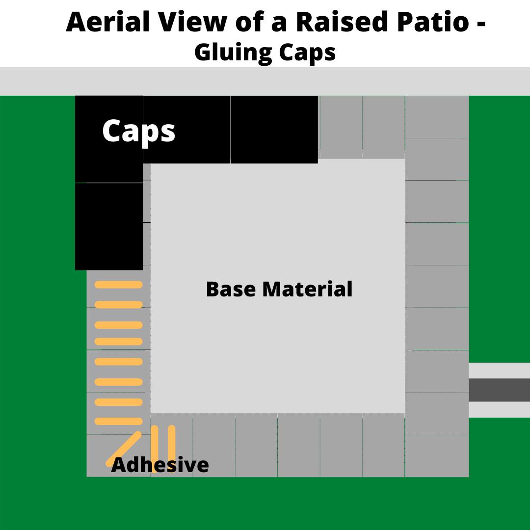 building-a-raised-patio-gluing-caps