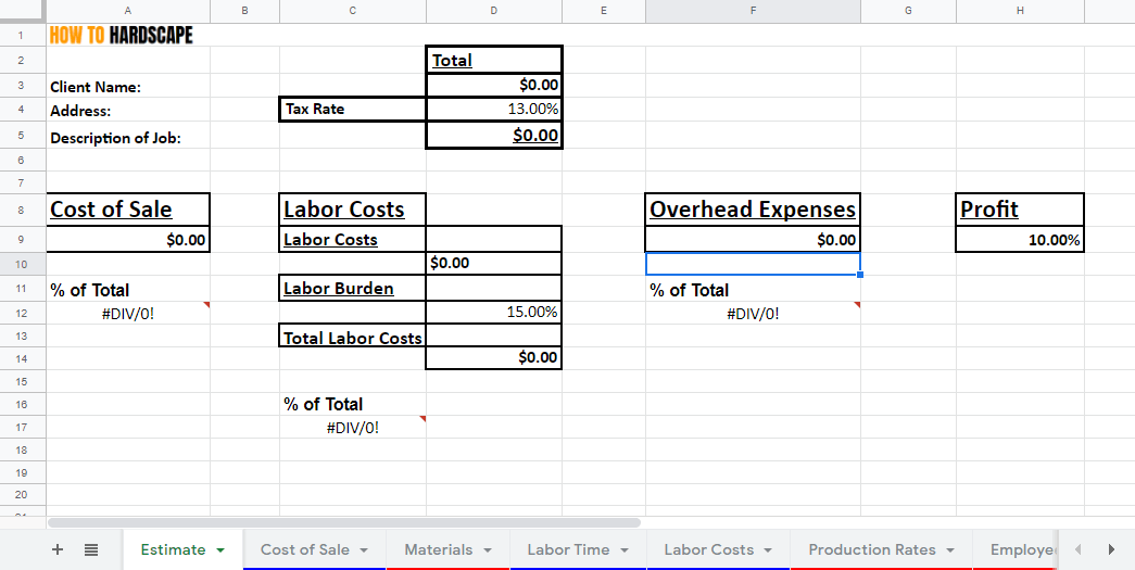 Budget and Estimate Spreadsheet How-To Series