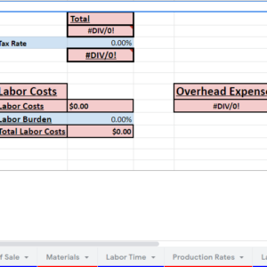 Budget and Estimate Spreadsheet